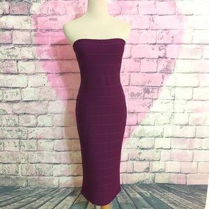 MISSGUIDED purple Strapless Bandage Midi Dress